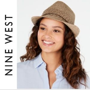 NINE WEST Tan Fedora Hat BROWN ACCENT NWT